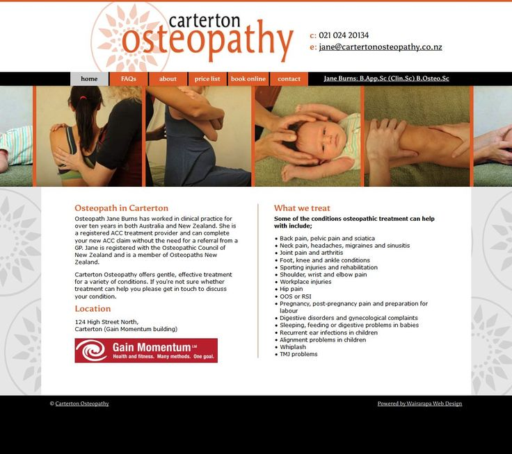 The Carterton Osteopathy website was a collaboration with Gregory Studio to take their design and implement it into a CMS system. http://www.cartertonosteopathy.co.nz