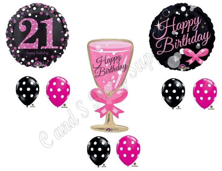 21ST Birthday Champagne Bubbly Party Balloons Decoration Twenty-One Drink #Anagram #BirthdayChild