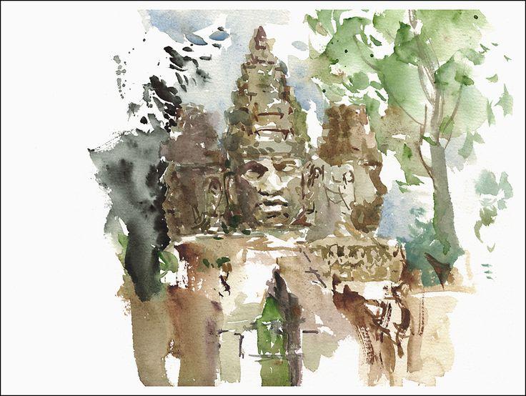 15Jul30_Cambodia_Angkor Thom_South Gate_Closeup