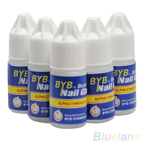 Pro 5 pz byb 3g colla del chiodo glitters diy nail art deco punte acriliche strumento adesivo 6ZIG 7GR4