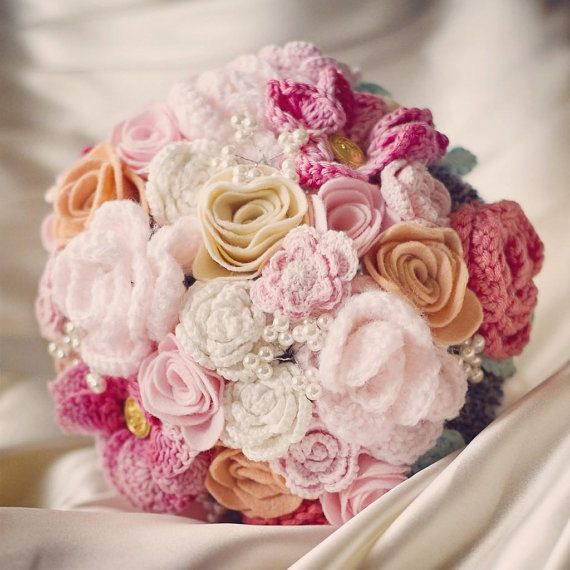Custom handmade crochet bouquet of forever flowers to match your colourscheme and theme on Etsy, $310.99