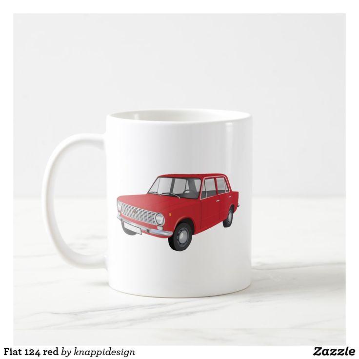 Fiat 124 red, two images per coffee mug. Check out other color options and customize mug like you wish.  #fiat124 #fiat #classiccars #60s #70s #italian #italia #italy #car #automobile #auto #machina #coffee mug #caffe #cafe #kaffemugg #mukit #carillustration #1970s #classics