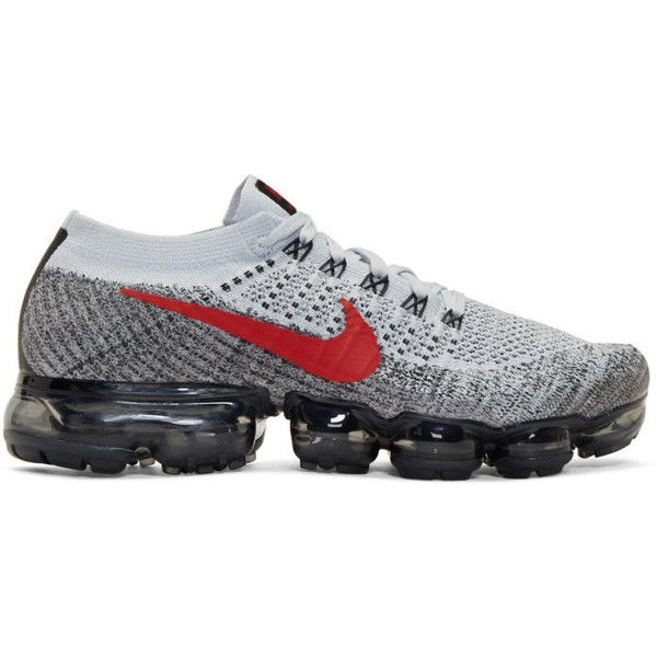 Nike Grey and Red Air VaporMax Running Sneakers ($205) ❤ liked on Polyvore featuring men's fashion, men's shoes, men's sneakers, grey, mens running sneakers, mens round toe dress shoes, mens red shoes, mens low profile shoes and nike flyknit mens shoes