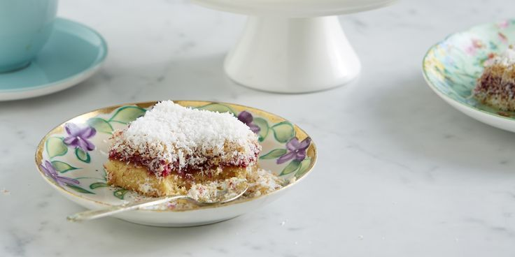 Coconut Jam Slice- soft, buttery base topped with zingy raspberry jam and crunchy coconut.–I Quit Sugar