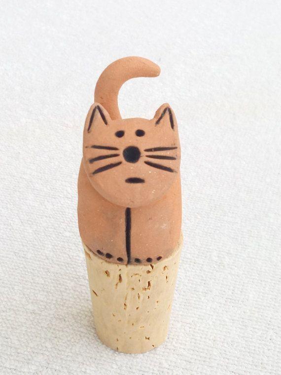 Clay Cat Wine Cork - Cat Lover Gift - Handmade Ceramic Cat Gifts - Wine Stopper - Pet Memorial Gift - Wine Lover Gift - Cat Lovers