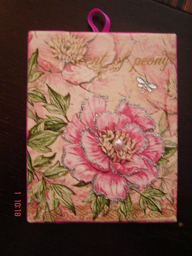 decoupage on mini canvas 8x10