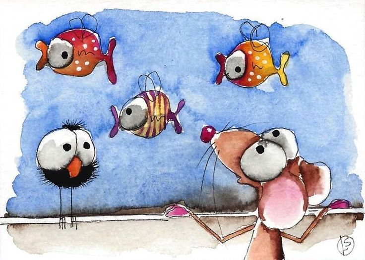 ACEO Original watercolor painting whimsical Lucia Stewart Mouse clown fish #IllustrationArt