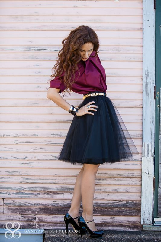 black tulle skirt, burgundy shirt, black shoes, sparkly belt fall spring