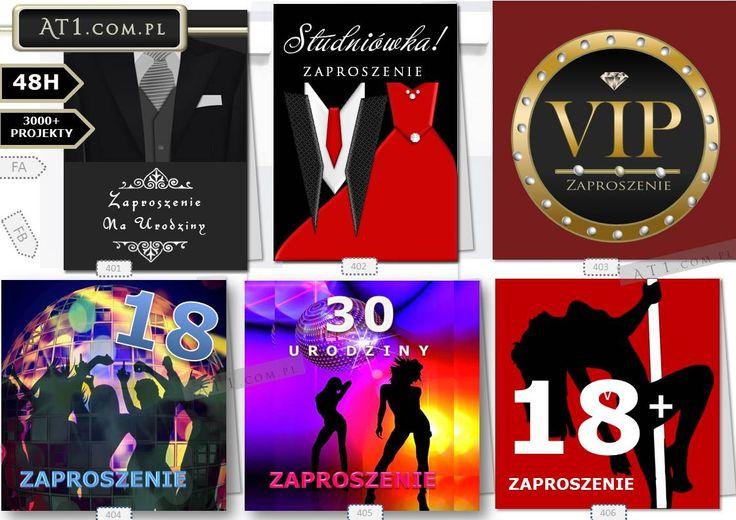 Zaproszenia na urodziny projekt druk At1.com.pl Kraków Sklep Maków Podhalański