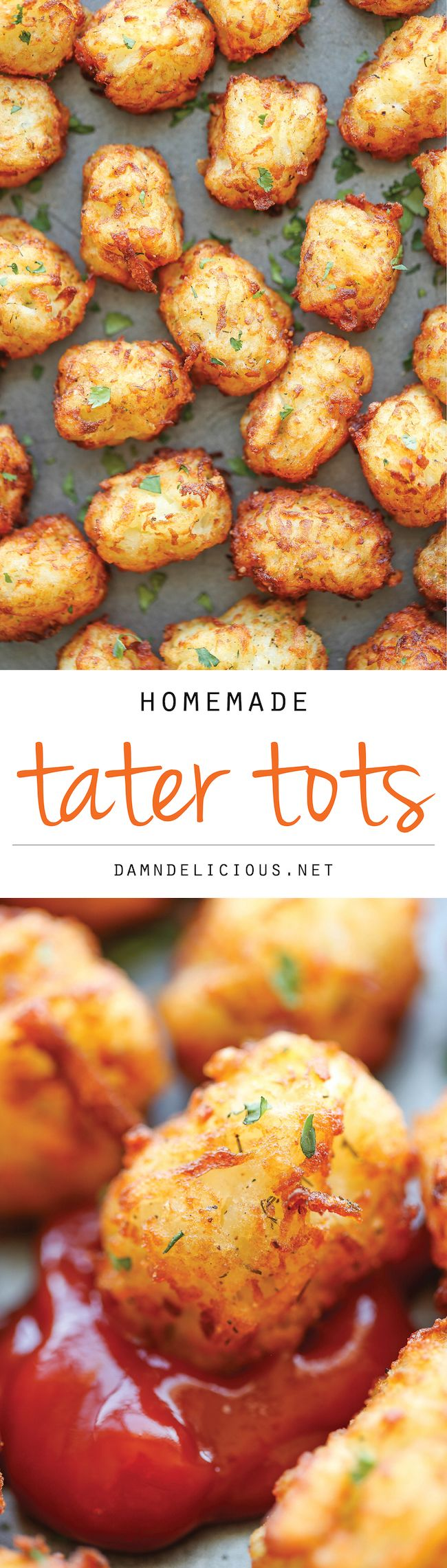 Homemade Tater Tots - Say goodbye to those frozen bags of tater tots. This homemade version is so easy, freezer-friendly and way better than store-bought!