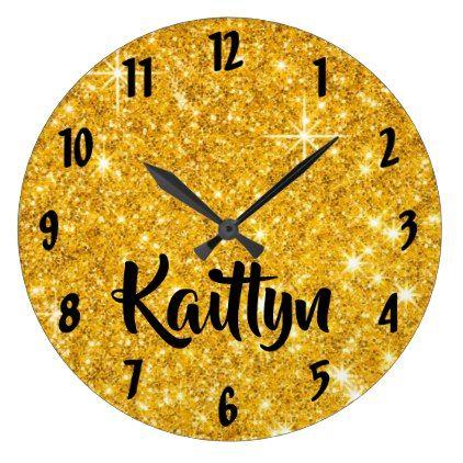 Gold Glitter Look Large Clock - glitter glamour brilliance sparkle design idea diy elegant
