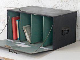 Vintage black metal deeds-box #vintage #homeinterior