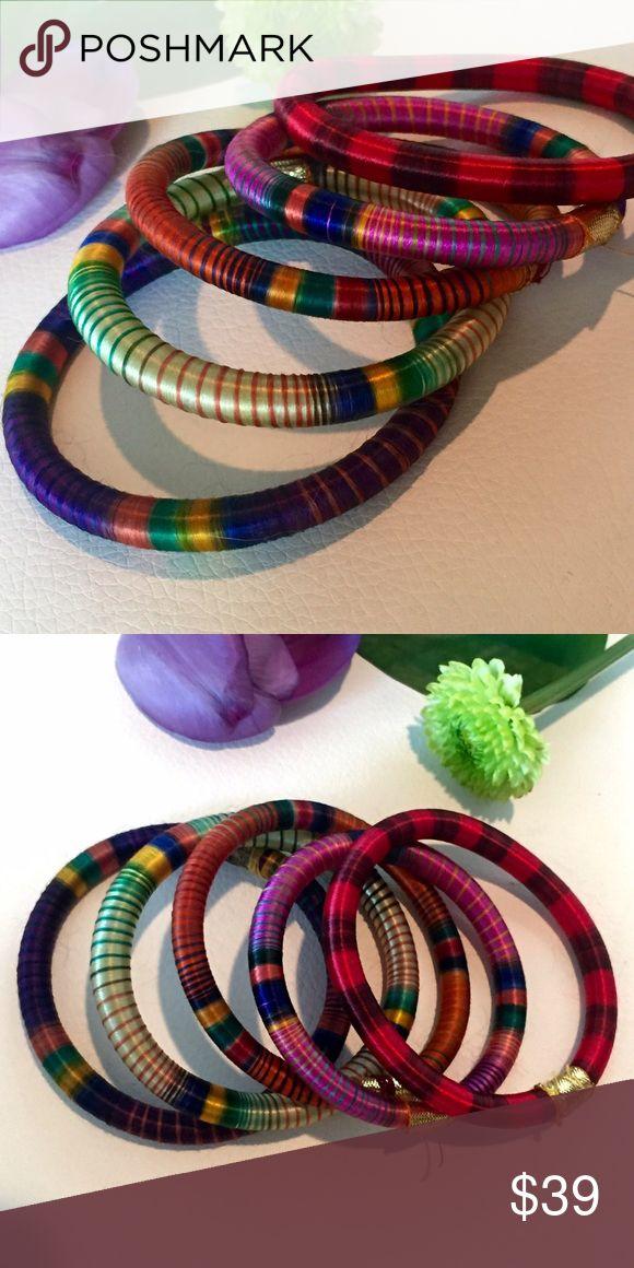 Anthropologie UK set of 5 fabric bangle bracelets Anthropologie UK set of 5 fabric bangle bracelets Anthropologie Jewelry Bracelets