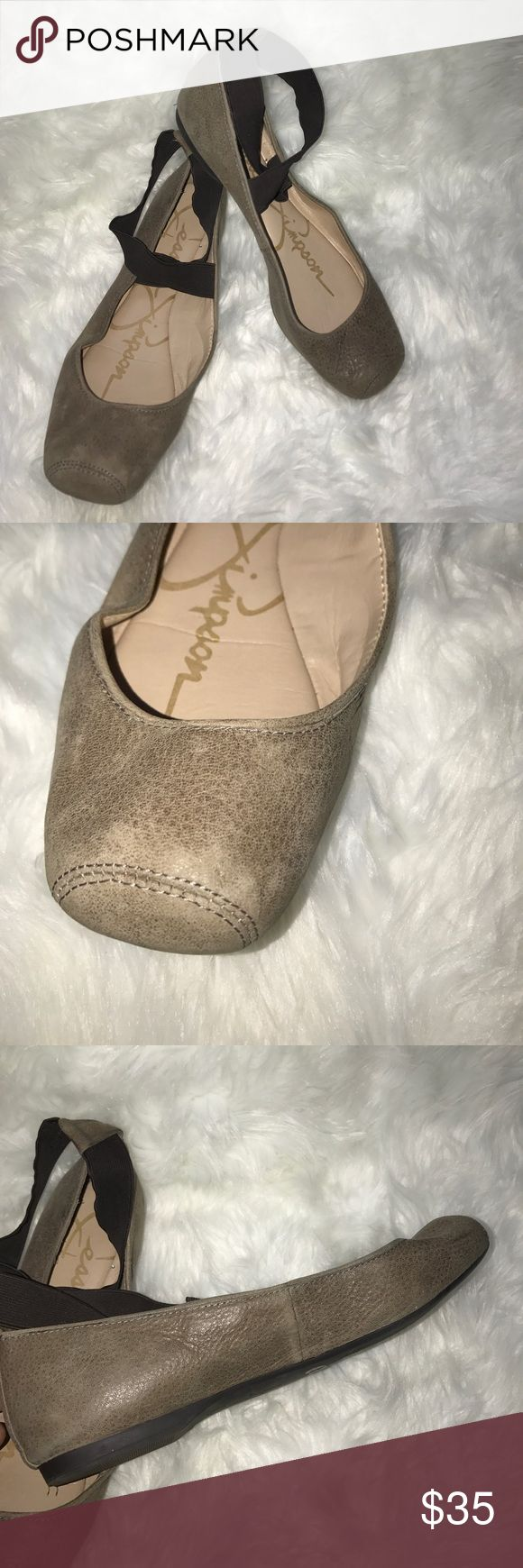 Jessica Simpson Ballet Flats Please note the signs of wear and that these are second hand Flats. Super cute taupe and brown Flats. Made to look like real ballet slippers with elastic ankle straps. They are a size 8. So much life left I just never wear them. Jessica Simpson Shoes Flats & Loafers