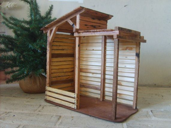 Wooden Nativity Stable Ready to Ship by TheMomandPopWoodshop, $125.00