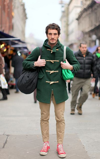 coat & sneakers: Duffle Coats, Men Clothing, Green Coats, Red Shoes, Street Style, Men Style, Stylish Clothing, Men Fashion, Green Colors