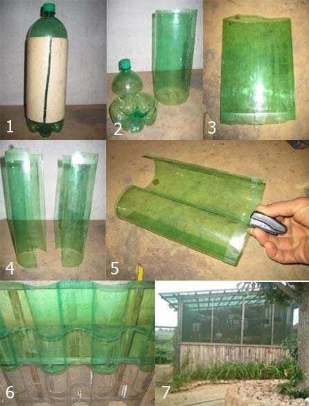 greenhouse from recycled bottles  Note: This doesn't lead to a detailed tutorial link, but the concept is shown by the illustrations. ~ajviola