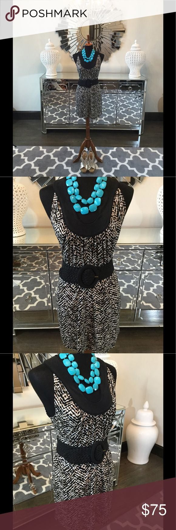 Laundry Mini Dress Stunning Laundry dress. Gorgeous black, white and brown animal print fabric. Drapes and flows effortlessly. Detailed neckline. Pair with your favorite belt and wedges for the perfect summer look! laundry Dresses Mini