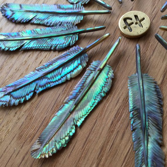 Abalone Flight Feather Necklace - Size: Super Mini - Hand Carved Paua Shell Pendant - Feather Tribe