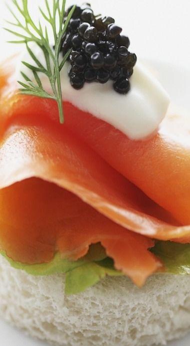 Smoked Salmon & Caviar Canapé with Crème Fraîche
