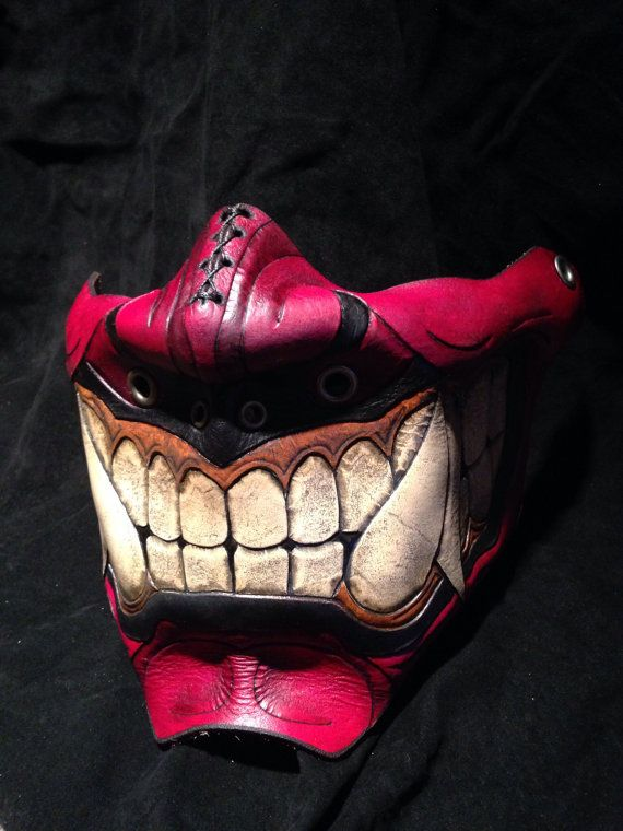 Hey, I found this really awesome Etsy listing at https://www.etsy.com/listing/210114166/red-leather-oni-kabuki-half-mask