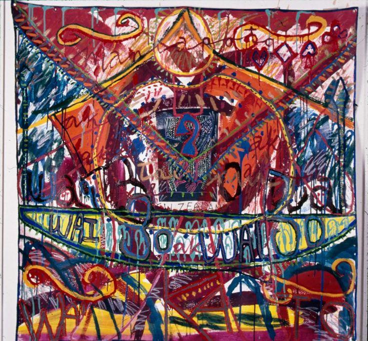Emily Karaka, Folds-wai 30, 1995, oil and acrylic on printed fabric on canvas, Courtesy University of Waikato Art Collection