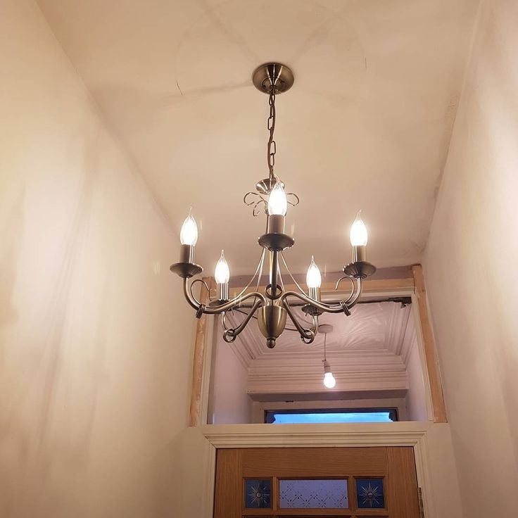 I normally don't put things up until all the decorating is finished but I was so excited by this antique brass chandelier I pestered for it to be put up....#B&Q #lights #Chandelier #hallway #victorianrenovation