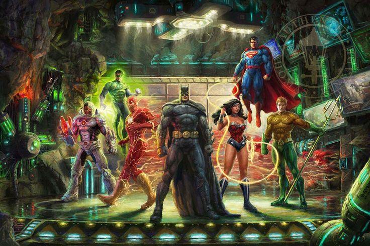 The Justice League - Thomas Kinkade Studios - DC Comics - World-Wide-Art.com - #dccomics #superman #batman #wonderwoman #jla #flash #aquaman #cyborg #greenlantern