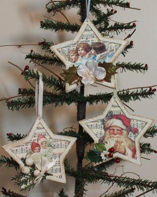 Christmas star ornaments  http://bluebirdpaperie.blogspot.com/2009/11/vintage-christmas-stars-ornament-swap.html