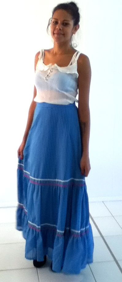 XS-M / AU 6-10 $25 L: 99cm W: 70cm   SUMMER fun European highwaisted vintage maxi skirt. Vibrant blue colour with white stripes and pink and white stiching along the botton. Has a full silky underlay..
