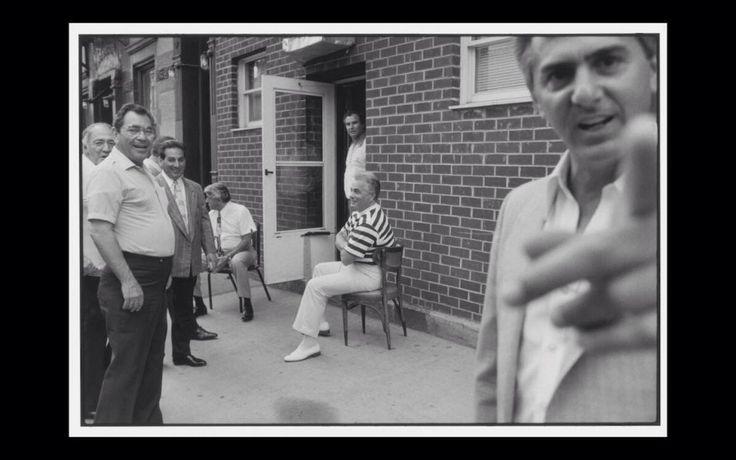 Iggy alogna , Greg depalma , Jo Jo corrozo , Jackie d'amico (seated) Norman DuPont ( doorway ) John gotti , and Dominick pizzonia warning the cameraman