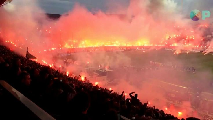 PAOK Soccer stadium on FIRE! Crazy supporters