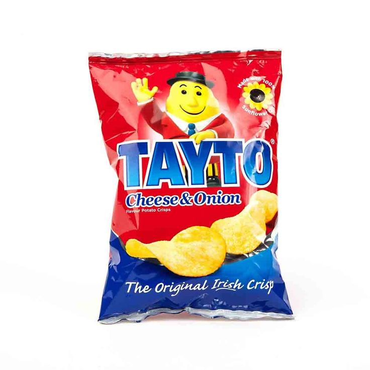 Tayto Crisps is a major Irish crisps and popcorn manufacturer, founded by Joe Murphy in 1954. Tayto crisps don't have a plain flavour but the default is Cheese and Onion. They also come in Salt & Vinegar, Smokey Bacon, Prawn Cocktail, and the limited edition flavour Tex Mex.