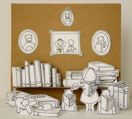 The cats love to read - Photo print - Paper diorama