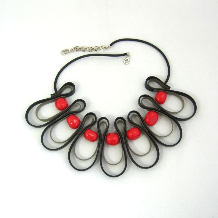 red and black bib necklace, rubber jewelry by frankideas on Etsy https://www.etsy.com/listing/151511625/red-and-black-bib-necklace-rubber