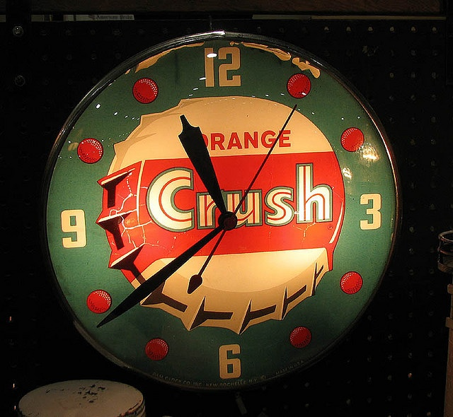 Vintage Orange Crush lighted Pam clock