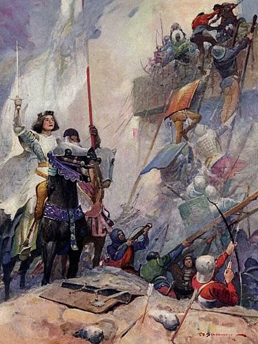 Joan of Arc at Orleans Battle before Les Tourelles painting by Frank E Schoonover   used in the historical novel The Warrior Maid