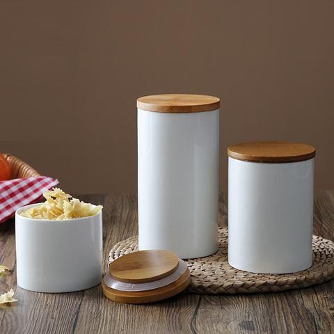 Modern and sleek ceramic food storage container.