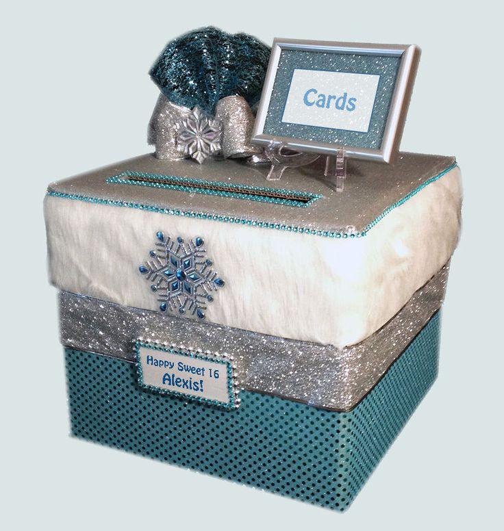 Card Box,winter,Sweet 16 Birthday Card,aqua,Frozen Party centerpiece,Fairy Tales #allthebestcardboxes #BirthdayChild