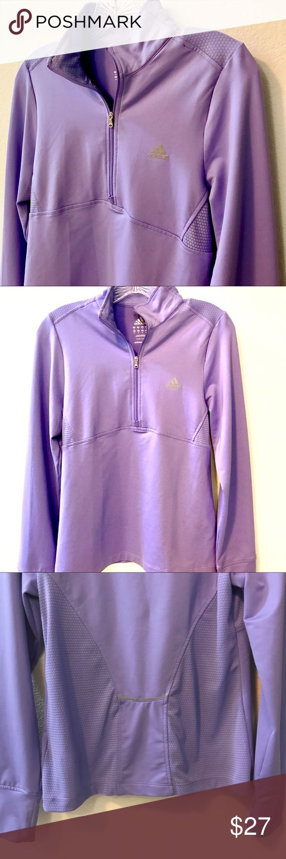 Adidas Workout Jacket Lavender colored, pictures shown with and without flash 🌼 size medium 🌼 reflective detailing on back 🌼 mesh-like material as shown in pictures 🌼 I need to spot clean some areas but other then that it's like-new 🌼 adidas Brand 🌼 adidas Tops