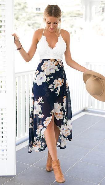 3464ae7465ac Floral Print Chiffon Dress Patchwork Lace #FashionTrendsDresses ...