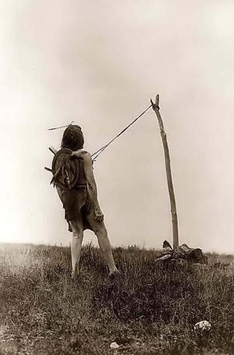 Piercing ritual of the sun dance, 1908, by Edward S. Curtis.
