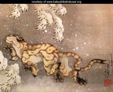 old tiger in the snow hokusai | Hokusai, 'Old Tiger in the Snow' Happy old tiger!