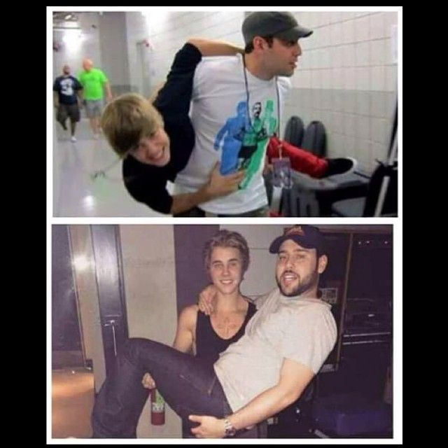 """JUSTIN BIEBER + his manager SCOOTER BRAUN (In the BEGINNING of JB's career to coming up to JB's 21st Birthday on March 1, 2015) hahahaha  """"Where did the time go? Happy birthday my guy. Big 21 I don't remember mine. Haha. Have fun. Proud of u @justinbieber"""" Scooter Braun"""