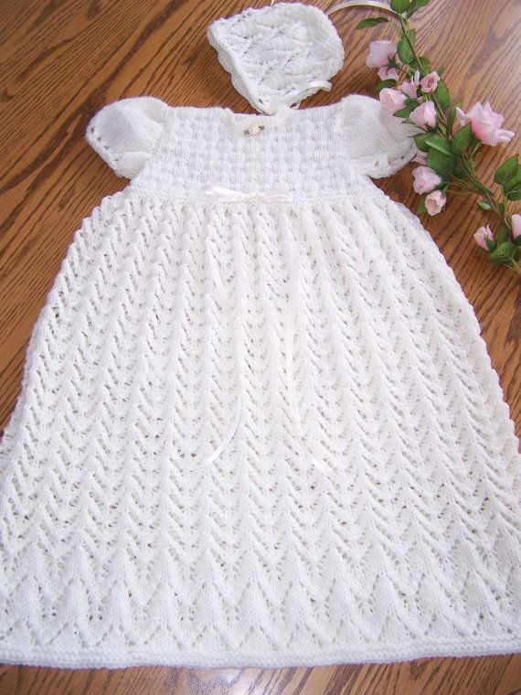 Ready to ship.    This is a new hand knit cream or off-white coloured Christening gown and bonnet set made to fit 3 months in size in a sport