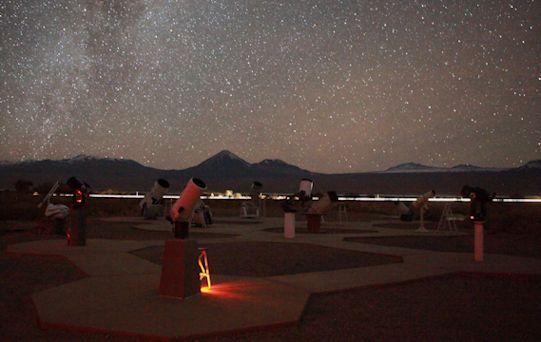Terrasa con telescopios