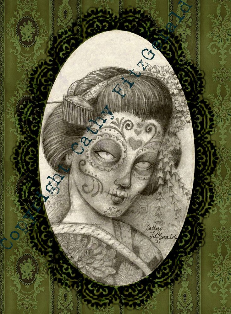 A4 - Dia de los Muertos - Day of the Dead - Geisha in Victorian Frame Tattoo Style Gothic Skull - Print. $12.00, via Etsy.