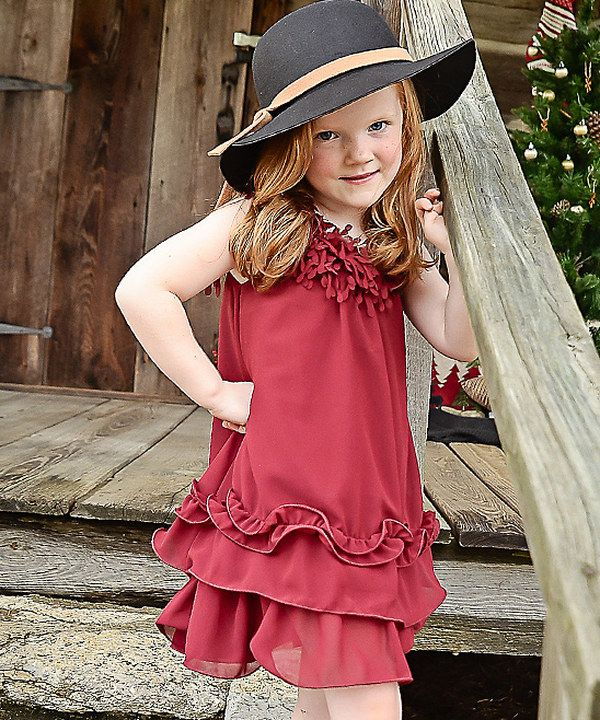Look at this Burgundy Flower Ruffle Dress - Girls on #zulily today!