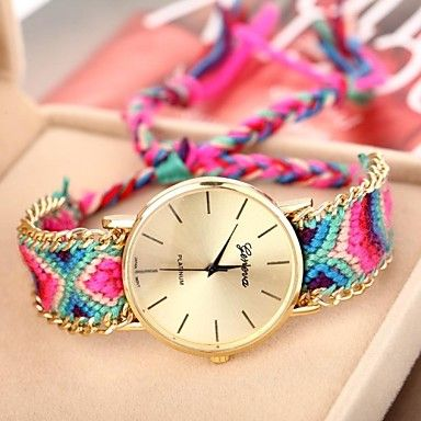 Women's Golden Case Chain Fabric Band Quartz Analog Bracelet Watch (Assorted Colors) – USD $ 8.99