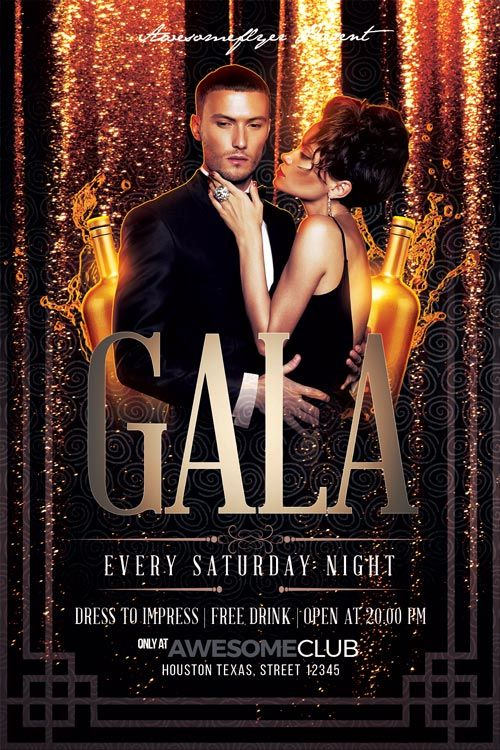 Gala Flyer Template - https://ffflyer.com/gala-flyer-template/ Enjoy downloading the Gala Flyer Template created by Awesomeflyer   #Classy, #Club, #Dance, #Dj, #Electro, #Event, #Gold, #Nightclub, #Party, #Vip